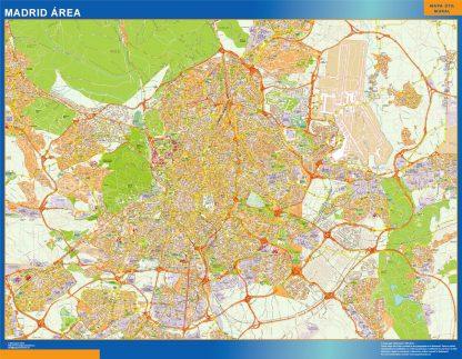Mapa carreteras Madrid Area enmarcado plastificado
