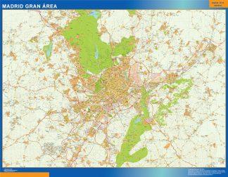 Mapa carreteras Madrid Gran Area enmarcado plastificado