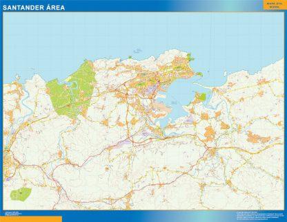 Mapa carreteras Santander Area enmarcado plastificado