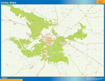 Mapa carreteras Soria Area enmarcado plastificado