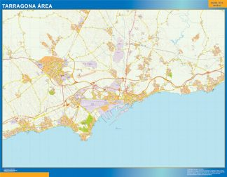 Mapa carreteras Tarragona Area enmarcado plastificado