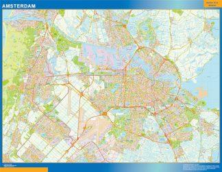 Mapa de Amsterdam enmarcado plastificado