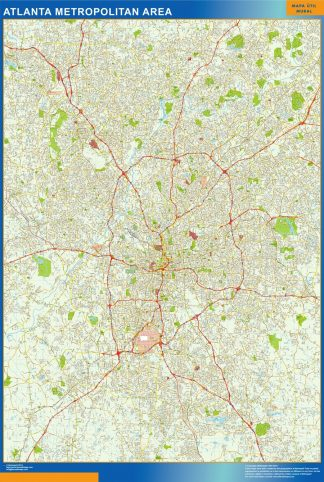 Mapa de Atlanta enmarcado plastificado