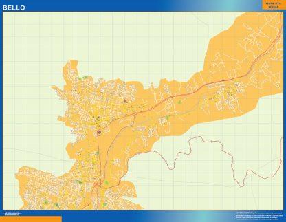 Mapa de Bello en Colombia enmarcado plastificado