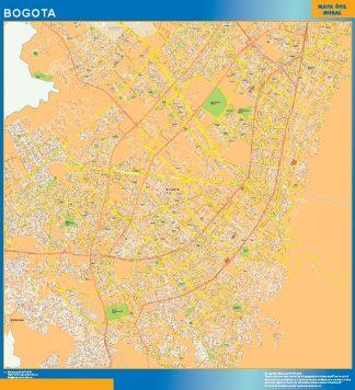 Mapa de Bogota en Colombia enmarcado plastificado