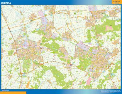 Mapa de Breda enmarcado plastificado
