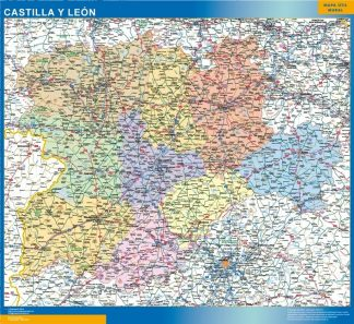 Mapa de Castilla y Leon enmarcado plastificado