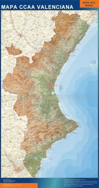 Mapa de Comunidad Valenciana relieve enmarcado plastificado
