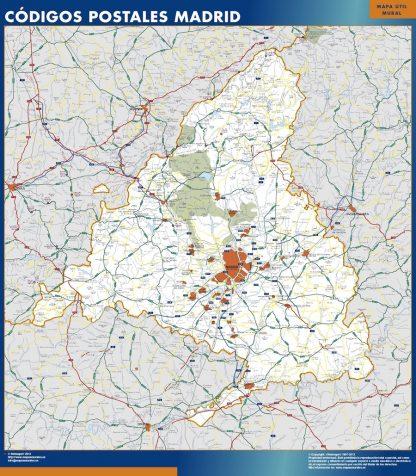 Mapa de Comunidad de Madrid códigos postales enmarcado plastificado