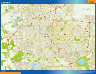 Mapa de Denver enmarcado plastificado