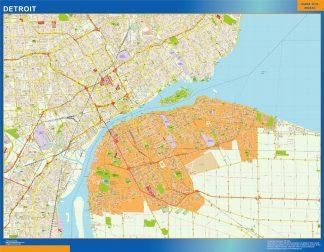 Mapa de Detroit enmarcado plastificado