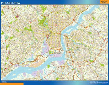 Mapa de Filadelfia enmarcado plastificado