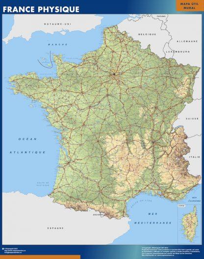 Mapa de Francia físico enmarcado plastificado