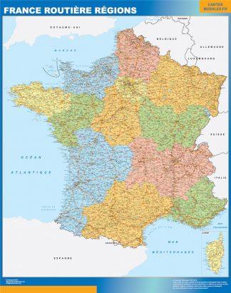 Mapa de Francia regional con carreteras enmarcado plastificado