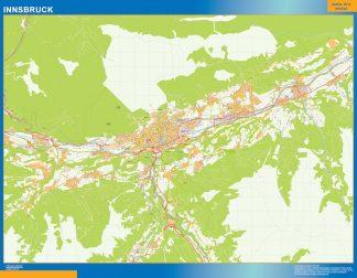 Mapa de Innsbruck en Austria enmarcado plastificado