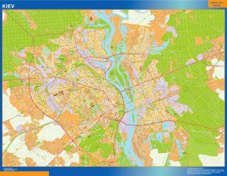Mapa de Kiev en Ucrania enmarcado plastificado