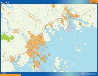 Mapa de Kotka en Finlandia enmarcado plastificado