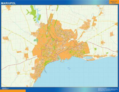 Mapa de Mariupol en Ucrania enmarcado plastificado