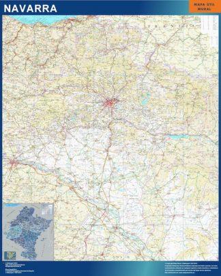 Mapa de Navarra enmarcado plastificado