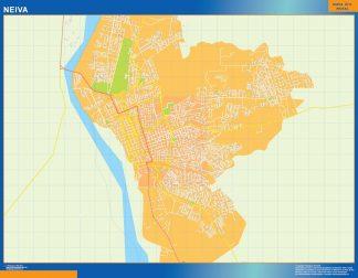 Mapa de Neiva en Colombia enmarcado plastificado