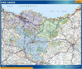 Mapa de Pais Vasco enmarcado plastificado