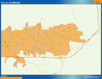 Mapa de Villa Alemana en Chile enmarcado plastificado