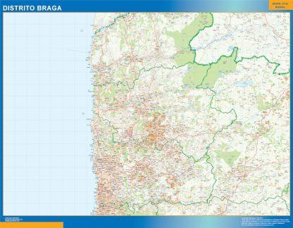 Mapa distrito Braga enmarcado plastificado