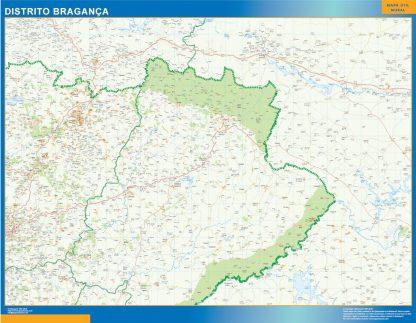 Mapa distrito Bragança enmarcado plastificado