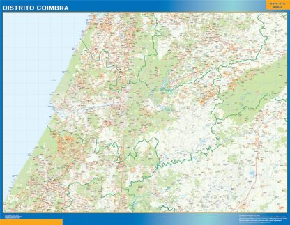 Mapa distrito Coimbra enmarcado plastificado