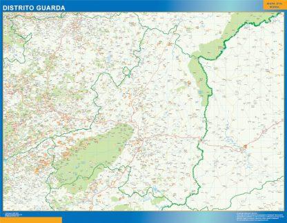 Mapa distrito Guarda enmarcado plastificado