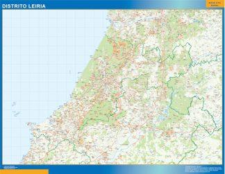Mapa distrito Leiria enmarcado plastificado