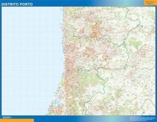 Mapa distrito Porto enmarcado plastificado