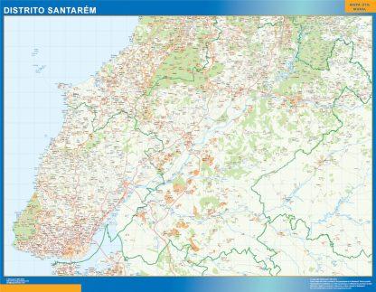 Mapa distrito Santarem enmarcado plastificado