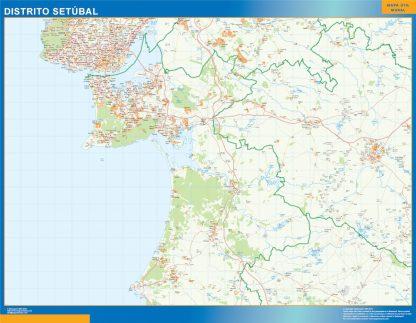 Mapa distrito Setubal enmarcado plastificado