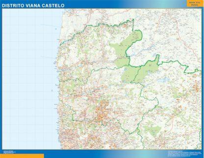 Mapa distrito Viana Castelo enmarcado plastificado