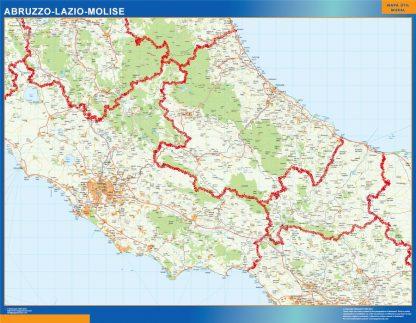 Mapa región Abruzzo enmarcado plastificado