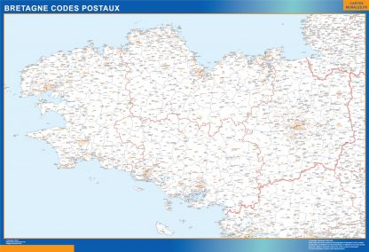 Mapa región Bretagne postal enmarcado plastificado