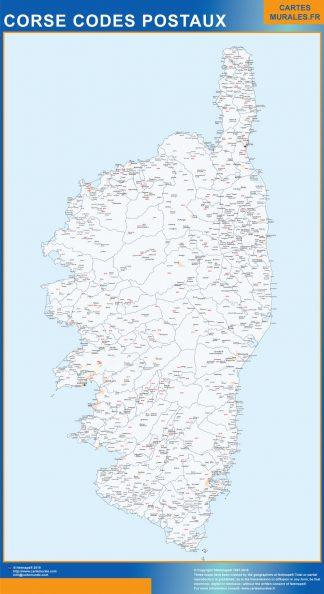 Mapa región Corse postal enmarcado plastificado