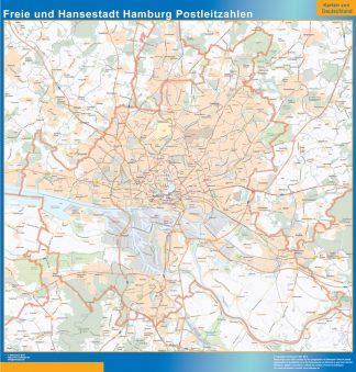Mapa región Hamburgo codigos postales enmarcado plastificado