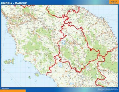 Mapa región Marche enmarcado plastificado