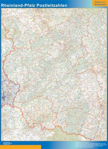 Mapa región Rheinland-Pfalz codigos postales enmarcado plastificado