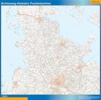 Mapa región Schleswig-Holstein codigos postales enmarcado plastificado