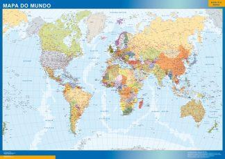 Mapamundi Portugues enmarcado plastificado