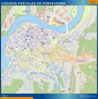 Pontevedra códigos postales enmarcado plastificado