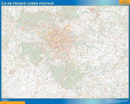 Región Ile de France codigos postales enmarcado plastificado