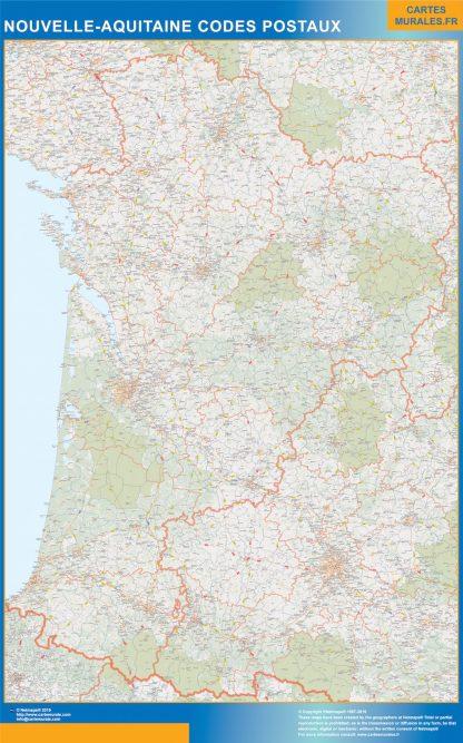 Región Nouvelle Aquitaine codigos postales enmarcado plastificado