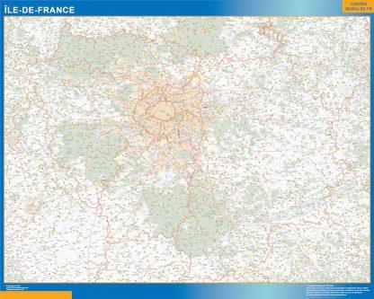 Region Ile de France enmarcado plastificado