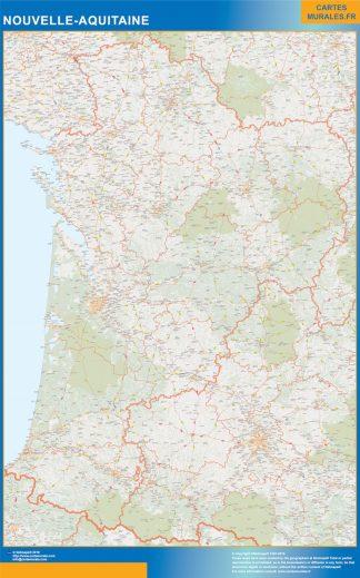 Region Nouvelle Aquitaine enmarcado plastificado