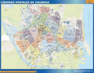 Valencia códigos postales enmarcado plastificado