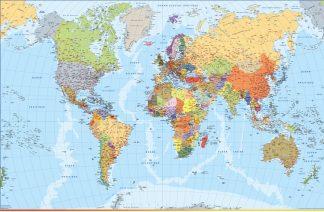 Mapa mundo plastificado frances